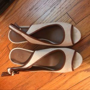 NY&C Cream & Brown Wedge- women's size 8